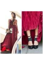 maroon Lulus dress - Lulus bag - Lulus heels - Mr Kate BeautyMarks accessories