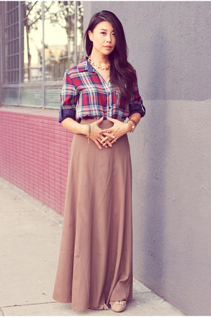 brown Forever21 skirt - magenta Bella Dahl shirt