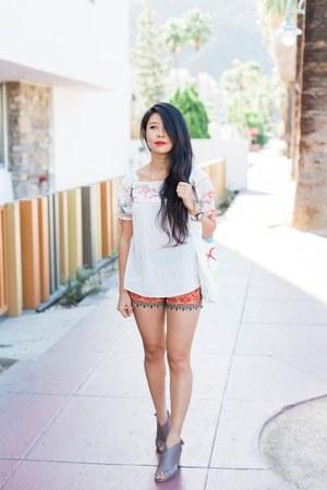 bando bag - THML shorts - JustFab heels - Guess watch - By Ti Mo top