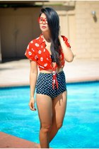 red crop top daisy Motel Clothing blouse - navy Guess swimwear