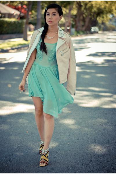 light blue sheer lulus dress - peach leather studded lulus jacket