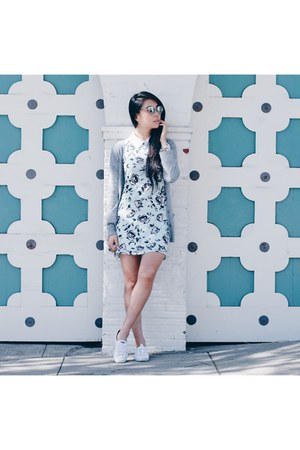floral Missguided dress - Michael Stars cardigan - Keds sneakers