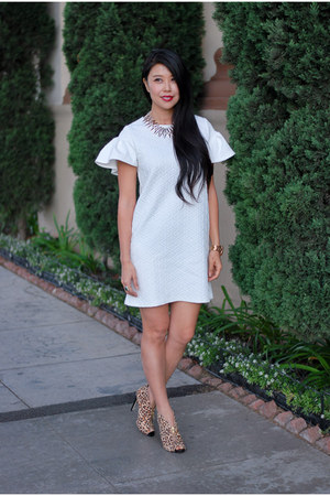 white Missguided dress - Shoedazzle heels - Mint and Lolly necklace