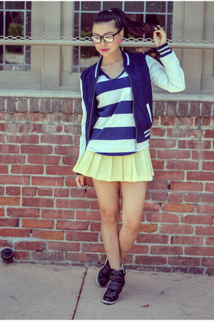 blue varsity jacket Charlotte Russe jacket - yellow vintage skirt