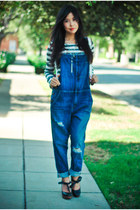 denim overalls CurrentElliot romper - striped Anine Bing t-shirt - Chloe wedges