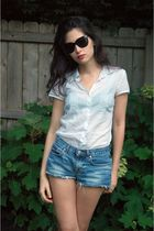 white ann taylor blouse - blue DIY shorts - black born shoes - black Target sung