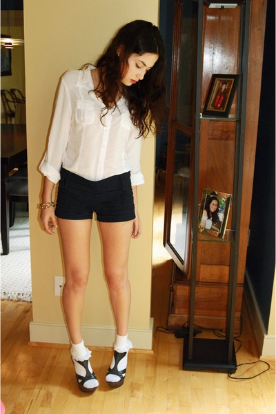white Forever 21 blouse - black Charlotte Russe shorts - white Target socks - bl