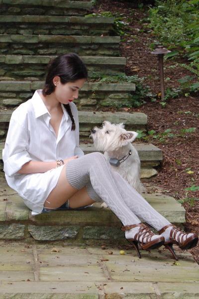 white Express shirt - blue Forever 21 shorts - gray Target socks - brown Forever