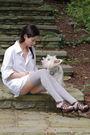White-express-shirt-blue-forever-21-shorts-gray-target-socks-brown-forever