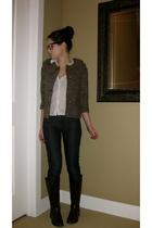 brown anne taylor loft jacket - white anne taylor loft top - blue JCrew jeans -