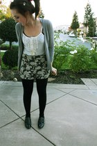 heather gray H&M cardigan - black Aldo shoes - black Urban Outfitters shorts