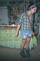 Thrifted Green Flannel top - floral Doc Martens - Urban Renewal Shorts w Lace -
