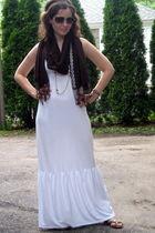 white American Eagle dress - brown banana republic scarf - gold Madden Girl via