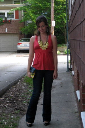 pink JCrew sale old top - blue citizens of humanity jeans - yellow Anthropologie