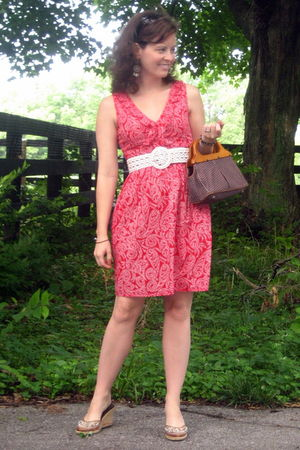 red Francescas Collections dress - white American Eagle belt - brown Target old