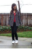 gray coat - black jeans - red top