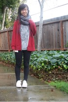 charcoal gray scarf - ruby red jacket - heather gray top
