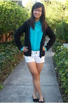 turquoise blue top - black jacket - cream shorts