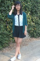 white top - black skirt - green cardigan