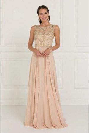 Elizabeth K - GL1565 Jeweled Illusion Ba dress