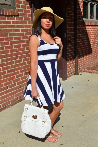 navy H&amp;M dress - camel Steve Madden hat - white TJ Maxx purse - gold Bandelino s