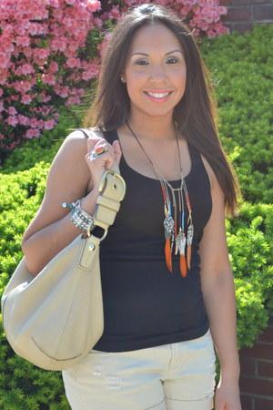 beige coach purse - beige Forever 21 shorts - black tank top Jcrew top - carrot