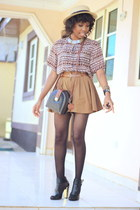 thrifted vintage shirt - Bamboo boots - gifted bag - thrifted vintage shorts