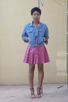 denim American Apparel jacket - ankle strap DIY heels - prints Ankara skirt