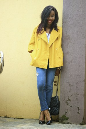 thrifted jacket - James Jeans jeans - qupis shoes pumps