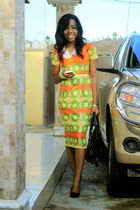 Topshop bracelet - Ankara dress - konga bag - material girl pumps