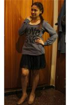 sheer pleated kashieca skirt - Lefties sweater - SM Dept Store wedges