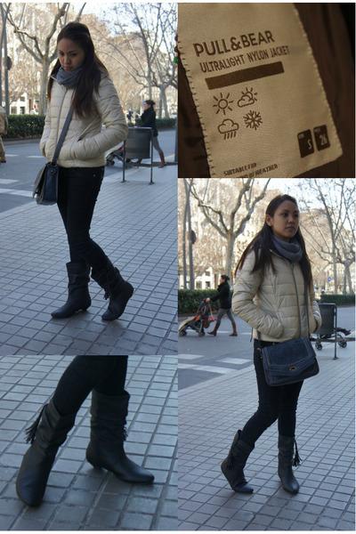 tasseled BLANCO boots - nylon jacket pull&bear jacket - grey pull&bear scarf