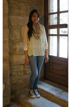 lace Stradivarius cardigan - skinny Primark jeans - mint H&M shirt