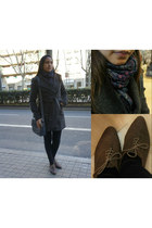grey Stradivarius coat - oxford shoes Mary Paz shoes - reversible Sfera scarf