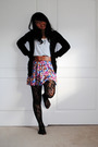 Black-forever-21-tights-blue-jacket-forever-21-skirt