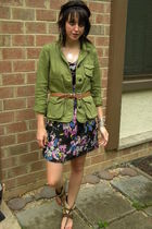 black Target dress - green JCrew jacket - beige banana republic belt - brown Ste