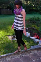 black JCrew pants - beige Steve Madden shoes - gray Old Navy t-shirt - purple Ol