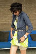 green JCrew shirt - beige JCrew shorts - blue ny & co top