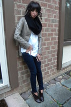 beige Express jacket - brown coach boots - blue Old Navy leggings