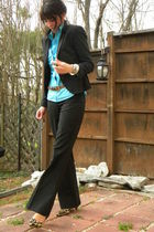 black Express blazer - black Express pants - blue JCrew blouse - beige Target sh