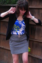black JCrew cardigan - black JCrew skirt - blue Old Navy shirt