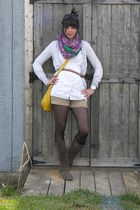 beige JCrew shorts - white Old Navy blouse - gray JCrew cardigan - purple Old Na