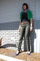 gray martin and osa pants - green Old Navy cardigan - blue JCrew blouse - purple