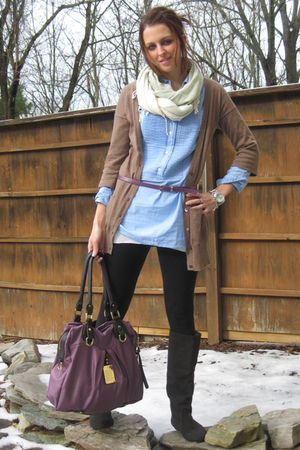 brown Gap cardigan - blue JCrew shirt - black Target leggings - gray Zigi Soho b
