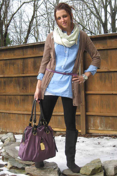 Brown Gap Cardigans, Blue JCrew Shirts, Black Target Leggings ...