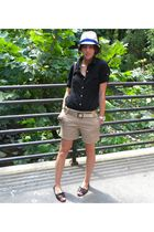black Old Navy shoes - beige JCrew shorts - black Old Navy shirt - beige Eugenia