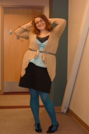 belt - Old Navy blazer - Gap top - torrid dress - delias shoes - Target leggings