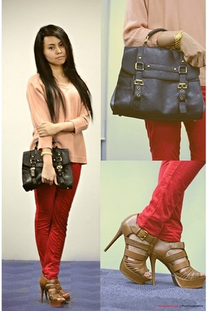 black rubi bag - red H&M pants - light pink Forever21 blouse