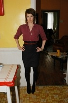 bloomingdales shirt - Homemade skirt - vintage belt - HUE tights - Target shoes