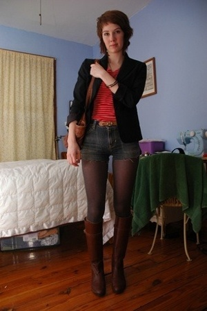 thrift blazer - thrift shirt - Old Navy shorts - vera wang tights -  boots - H&M